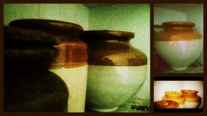 Jaadi (porcelain jars) for storing pickles.